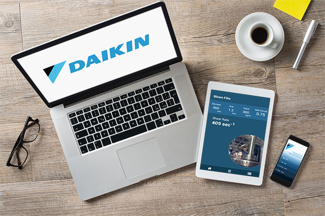 Daikin Shear Rate App on tablet and smartphone
