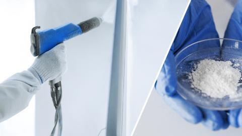 Spray application of coating powder